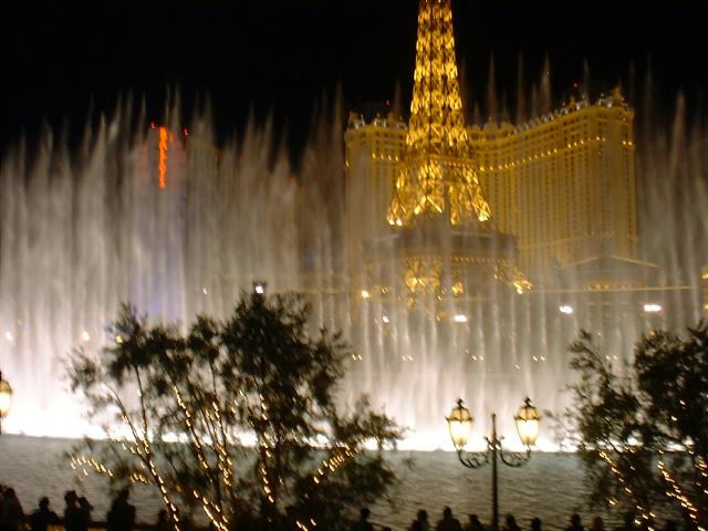 the Bellagio fountains viewed from the hotel