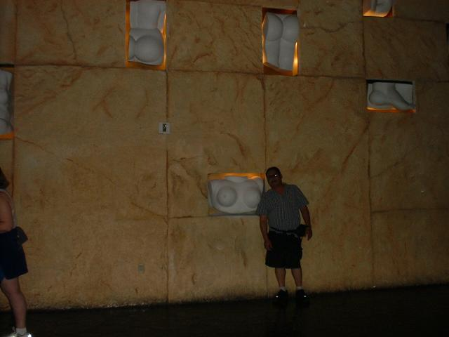 Hawaii Kai at a stange wall in the Mandalay Bay Hotel